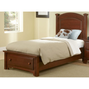 Barnburner Twin Panel Bed with Storage Footboard -Cherry