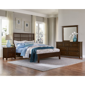 Artisan Choices-Dark Cherry Cal King Craftsman Slat Bed With Low Profile Footb