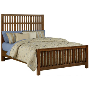 Artisan Choices-Rustic Cherry Cal King Craftsman Slat Bed With Slat Footboard