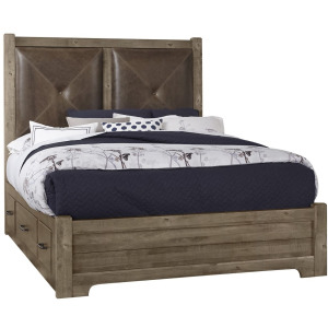 Cool Rustic King Leather Bed w/ 2 Sided Storage -Stone Grey