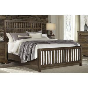 Artisan Choices-Dark Oak King Craftsman Slat Bed With Slat Footboard