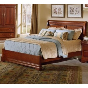 Twin Sleigh Bed with Low Profile Footboard in Merlot
