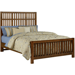 Artisan Choices-Amish Cherry Queen Craftsman Slat Bed With Slat Footboard