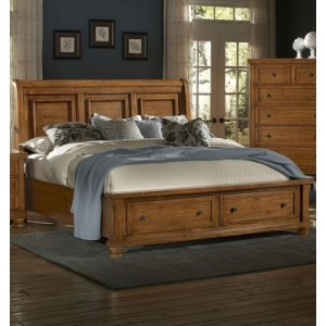 Reflections King Sleigh Storage Bed - Pine