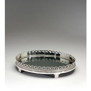 Mirrored And Footed Oval Tray