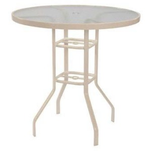 "Glass Top 42"" Round Bar Table w/ Umbrella Hole"