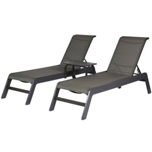 Mailbu Sling Armless Double Chaise Lounge With Center Table