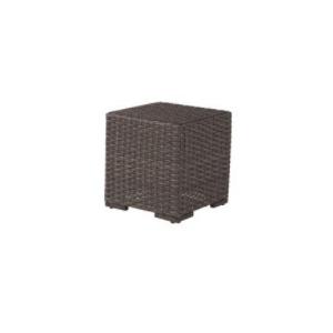 "Georgia Wicker 20"" Square Side Table w/Glass Top"
