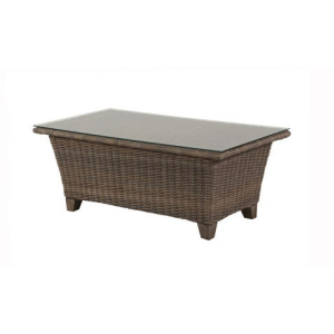 "Oxford Woven 26""x48"" Rectangle Glass Top Coffee Table"