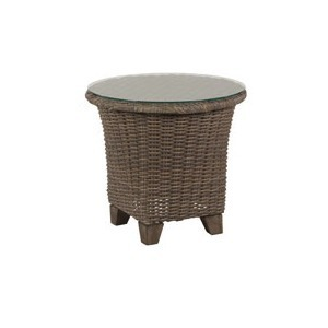 "Oxford Woven 24"" Round Glass Top Side Table"