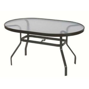"""Glass Top 36"""" x 54"""" Oval Dining Table"""