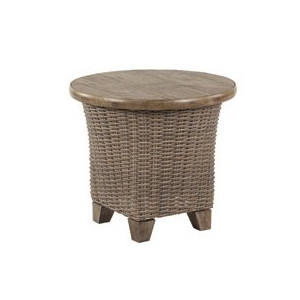 "Oxford Beechwood 24"" Round Tile Top Side Table"