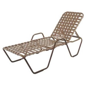 Country Club Strap Chaise Lounge with Arms - Cross Weave