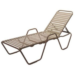 Country Club Strap Chaise Lounge with Arms