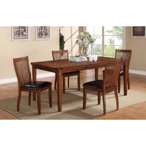 """72\"""" Dining Table & Slat Back Side Chair Dining Set"""