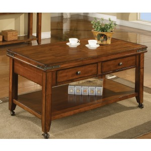 Mango 2-Drawer Coffee Table w/ Casters