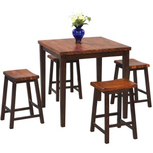 5-pc Square Counter Height Leg Table with 4 Stools