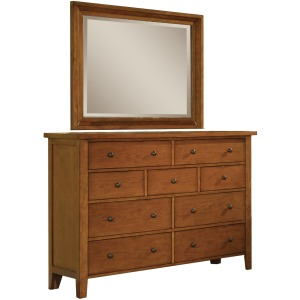 "58"" 9-Drawer Dresser and Landscape Mirror"