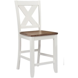 "Pacifica 24"" X Back Barstool - Rustic Brown/White"