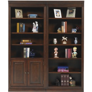 """78.5"""" Open Bookcase and Bookcase with Doors"""
