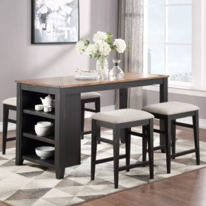 "Woodbridge 60"" Storage Tall Table w/2 Drawers - Ebony"