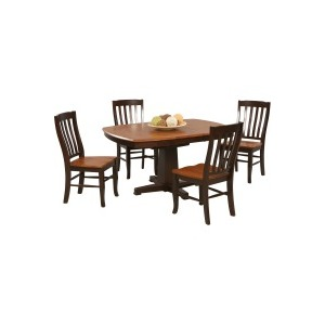 """57\"""" Pedestal Table with 15\"""" Butterfly Leaf & Chair"""