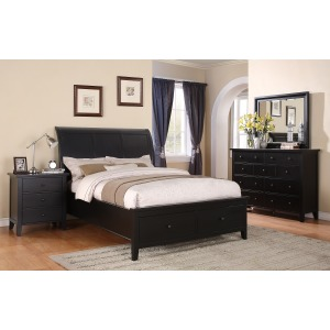 Vintage Sleigh Storage Bed Suite in Ebony
