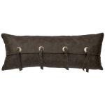 "Adobe Quarry Saloon Grey Leather Pillow - 10"" x 26"""