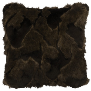 "Adobe Quarry Onyx Marbled Fox Faux Fur Pillow - 18"" x 18"""
