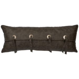 "Adobe Quarry Saloon Grey Leather Pillow - 10"" x 26"""