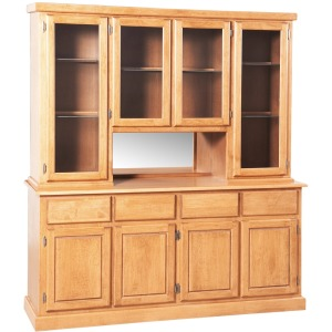 Contemporary 4 Door Deluxe Hutch & Buffet W/Mirrored Alcove