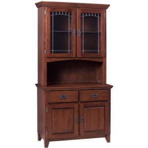 Mission Grand 2 Door Buffet & Half Hutch W/Mission Lead Glass