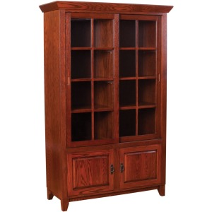 Mission Library Bookcase with Sliding Lattice Doors