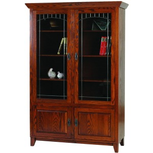 Mission Library Bookcase With Upper Lead Glass Doors