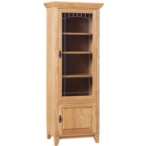 Mission Study Bookcase Hinged Right With Upper Lead Glass Door
