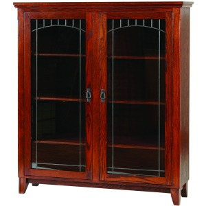 Mission Office Bookcase With Lead Glass Doors