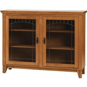 Mission Den Bookcase With Lead Glass Doors