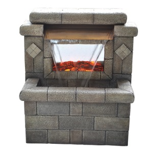 23 inch height Fountain with fireplace on display