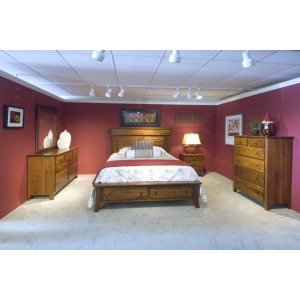 Jamestown Square King Bed with Footboard Drawer Unit