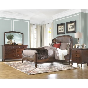 King Arch Leather Upholstered Panel Bed