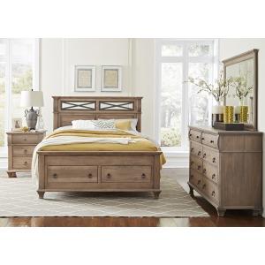 Reminisce King Iron Bed W/ Footboard Storage