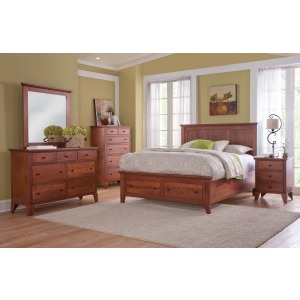 Panel Bed with Footboard Drawers