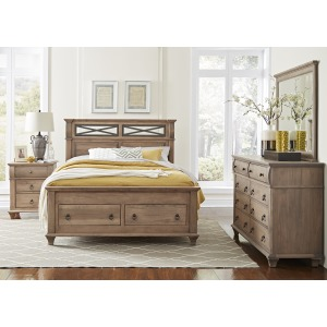 Reminisce Queen Iron Bed W/ Footboard Storage
