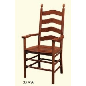 French Country Arm Chair (Wood Seat)