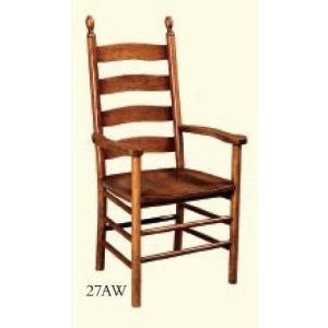 Shaker Ladderback Arm Chair (Wood Seat)